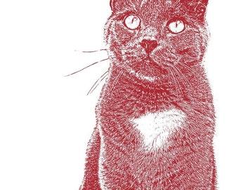 Custom Pet Portrait, Cat Lover Gift, Gift For Her, Cat Print