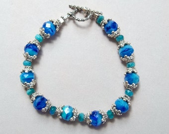 Shades of Blue Sterling Silver Bracelet with Czech Glass