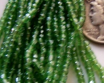 antique green glass bead hank seed beads