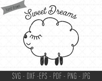Sweet Dreams SVG, Lamb SVG, Sweet Dreams Print, New Baby Gift, Baby Shower Gift, Lamb Clip Art, Commercial SVG, Commercial Cut File, SVGs