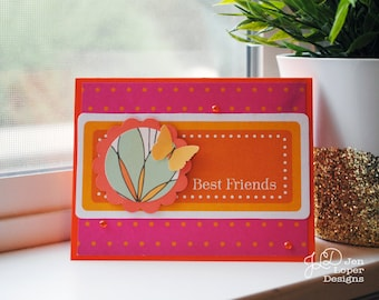 Best Friends - Pink & Orange - Just Because - Thank you - Encouragement - Blank Note Card