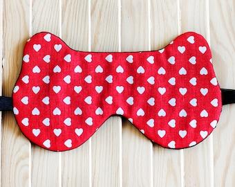 Red Sleep Mask Bear white Hearts, Bear Mask for Long Flights Travel Eye Mask , Travel Gifts, Eye Pillow Slumber Party Bridesmaid Gift