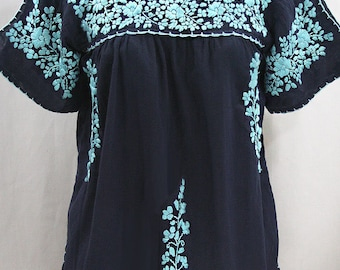 """Mexican Peasant Top Blouse Hand Embroidered: """"Lijera"""" Navy Blue + Neon Blue Embroidery ~ Size MEDIUM"""