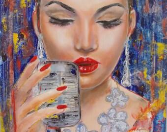 SUMMER SALE -Original painting,fashion painting,oil,woman,singer,portrait,blue,small,12x12,woman portrait,figurativewoman painting,small art