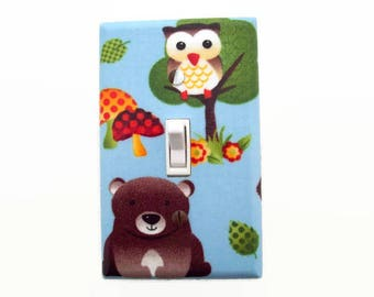 Bear Light Switch Cover - Woodland Switch Plate - Gender Neutral Nursery - Owl Nursery