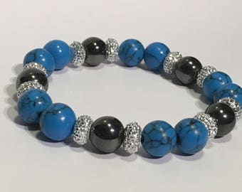 Women's bracelet with turquoise howlite and hematite beads