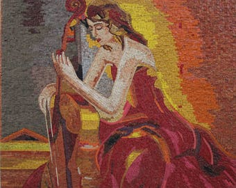 Girl Playing Cello Marble Mosaic FG1029