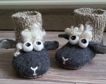 """Felted Slippers """"Shaun the Sheep"""""""