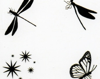 Lavinia Fairy Bugs Stamp - Fairy Bugs Stamp - Clear Cling Stamp - Bugs Cling Stamp - Fairy Bugs - Dragonfly - Butterfly - Stardust - 12-175