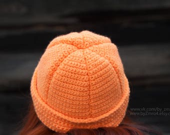 Tangerine Orange Hat, Christmas Hat, Orange Knitted Hat Cap, Orange Winter Hat, Tangerine Cap, Knitted Hat for Child, Funny Cap, Citrus