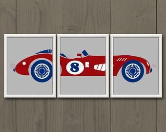 RACE CAR - Race Car Print, Race Car Art, Race Car Birthday, Baby Shower, Baby Boy, Toddler Boy, Car Print, Vintage Race Car, Retro