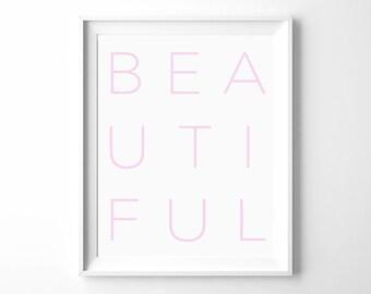 BEAUTIFUL PRINTABLE | Word Art | Nursery Print Print | Black and White | Typography Wall Art | Minimalist Print