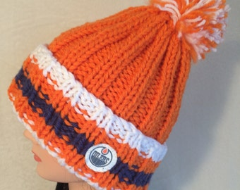 Edmonton Oilers hat, Hockey hat, Chunky knit hat, Hand knit hat, Beanie hat, Slouch hat, Pom pom hat, Team hat, Winter hat, Hockey Toque