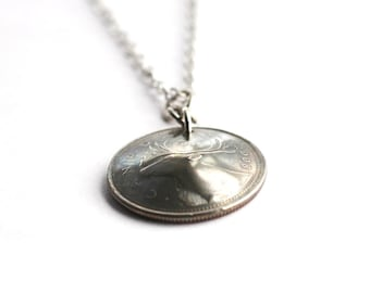 Canadian Coin Necklace, Caribou Animal Necklace Pendant, Canada 25 Cents, 2008,  Upcycled Coin Jewelry by Hendywood