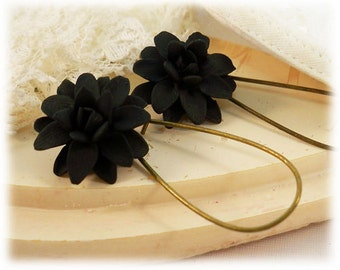 Black Dahlia Dangle Earrings -  - Silver Gold or Antique Brass Black Dahlia Drop Earrings, Black Flower Earrings