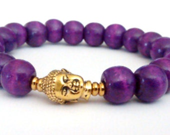 Purple Wood Beads Buddha Unisex Bracelet