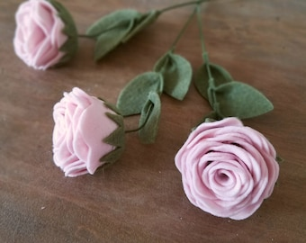 Single Felt Rose Stem - Felt Flowers - Build Your Own Bouquet with Custom Colors