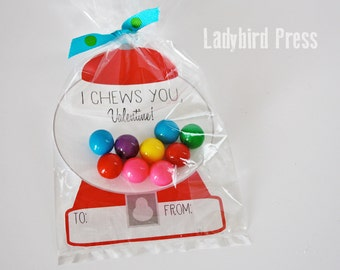Printable Gumball Valentines Day Card - Gumball Machine - Classroom Valentines - I Chews You