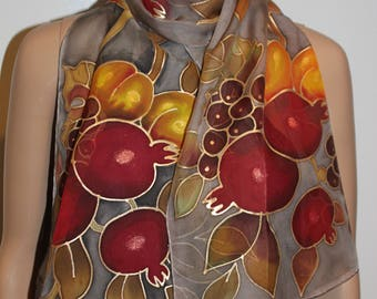 Hand painted fruits scarf,Pomegranate apricot grape,Fall Thanksgiving Autumn gift,Armenian gift,Gray long chiffon scarf,Jewish gift,Fruits