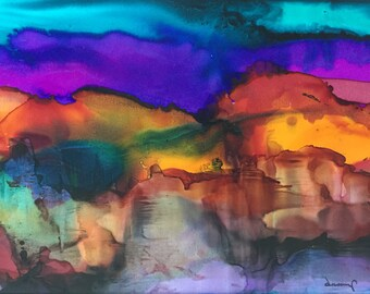 Desert On Fire Original 5x7 Alcohol Ink Painting on Yupo