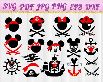 Mickey mouse pirate svg, Mickey pirate vector, Mickey bundle, Mickey pirate digital clipart, files svg, jpg, pdf, png, dxf, eps,disney cruis