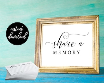 Share a Memory Card & Share a Memory Sign - Simple Printable Funeral, Milestone Birthday, Anniversary DIY Instant Download Digital File PDF