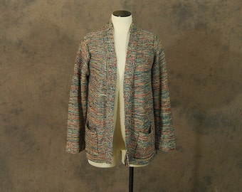 vintage 70s Cardigan - Green and Orange Space Dyed Wrap Sweater - 1970s Boho Cardigan SZ S M