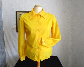60s M Big Collar Cotton L/S BLOUSE Top Buttercup Yellow