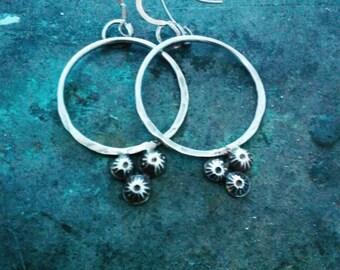 Gypsy Boho Sterling Silver Hoops. Handmade Sterling Silver Boho Hoop Earrings. Forged Silver Hoop Earrings. Boho Jewellery.
