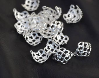sets of 4 large Silver 925 bead caps