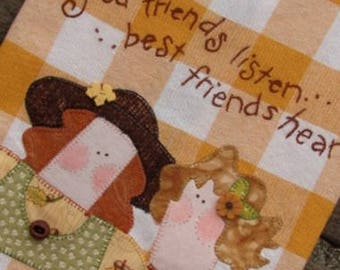 Best Friend Towel Friendship Gift Two Girls Kitchen Towel Good Friends Gold Check Towel Home Kitchen Decor Ready to Ship Quilters Gifting