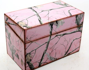 Wood Recipe Box Pink Camo Camouflage Fits 4x6 Recipe Cards