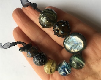 Dark Silver Glass Mix Lampwork Beads SRA