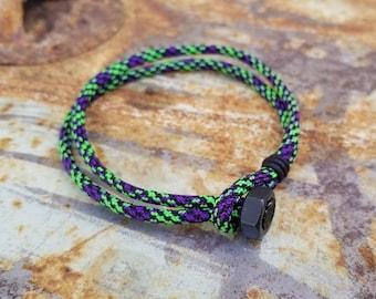 Mens Bracelet in Neon Green Tech Style Paracord