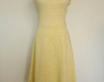 Vintage pastel pale yellow knit dress and matching jacket 1970s set