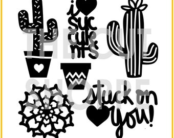 The Stuck On You cut file consists of 7 succulent themed icons, that can be used for your scrapbooking and papercrafting projects.