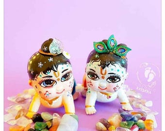 Krishna & Balaram wind up crawling Vaishnava Hindu toy