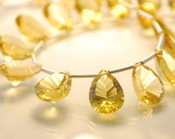 Warm Honey Quartz Gemstone Beads, Golden Concave Cut, Large Focals, Faceted, AAA Briolettes, 12.5 to 13mm, Set of 5