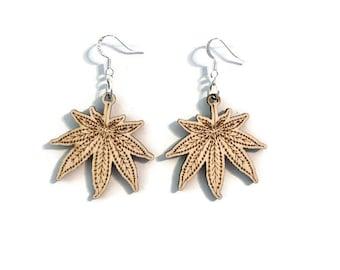 Cannabis Earrings Silver plated wood engraved handmade wooden marijuana dispensary gift for her stoner jewelry stoner gifts marijuana