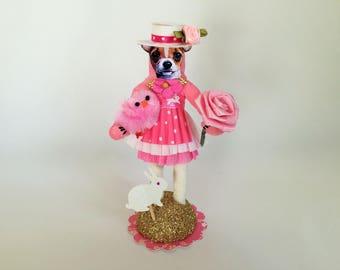 """Chihuahua Ostern gesponnen Baumwolle Hund Vintage-Stil gesponnen Baumwolle Mädchen w/BUNNY 5.5"""" Figur"""