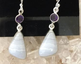 Blue Lace Agate and Amethyst Earrings
