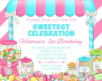 Candy Birthday Invitation - Candyland Invitation - Candy Shop Party Invitation - Sweet Shoppe Printable Invitation - Candy Shoppe Invite