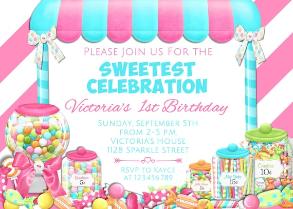 Candy Birthday Invitation Candyland Invitation Candy Shop