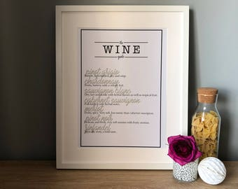 The wine guide print - A3 or A4