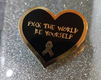 FUCK THE WORLD mental health anxiety life quotes kawaii enamel pin limited edition