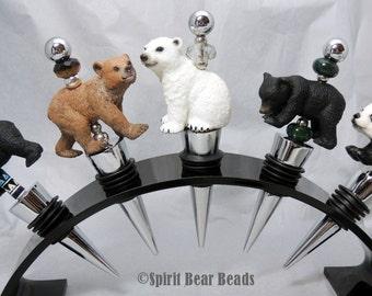 Bear Wine Stoppers Your Choice,  Polar Bear, Panda, or Grizzly Bear