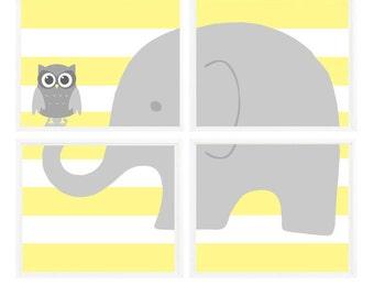 Elephant Nursery Art, Gray Yellow Nursery, Owl Print, Neutral Nursery, Stripes, Baby Boy Nursery, Baby Girl Nursery, Owl Nursery Art, Gift