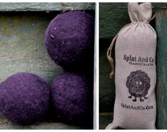 XL Felted Dryer Balls - Large Canadian Wool - Black Dryer Balls