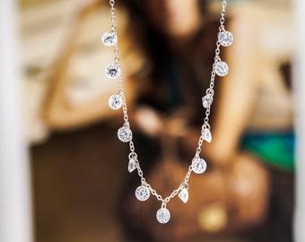 Swarovski crystal necklace in silver, crystal necklace, silver necklace, delicate & minimal necklace, boho Necklace, swarovski necklace