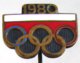 POLAND OLYMPIC BADGE 1980 Polish Olympic participation in Moscow Summer Olympic games Lapel enamel pin badge